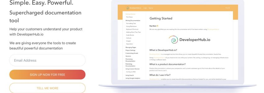 DeveloperHub.io – Create beautiful powerful documentation, hassle-free.